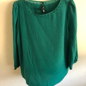 Green J. Crew shirt 100% silk